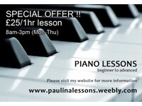 Piano tutor, piano lessons in Haringey, Crouch End, Alexandra Palace