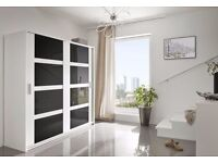 New QUALITY 2 Sliding Door Wardrobe 140cm / 203cm Width White/Black/Grey gloss Storage