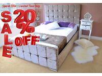 Save Money - Buy Direct - Velvet Upholstered Fabric Bed - Storage 3' Single 4'6 Double 5' King