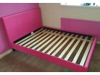 Pink leather double bed
