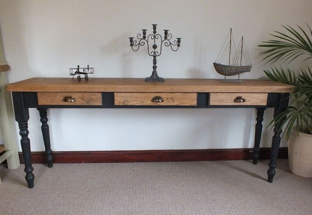 Long Shabby Chic Country Rustic Console Table With 3 Drawers Other Colours Sizes