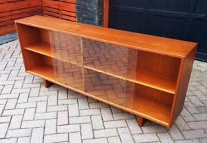 Danish Mid Century Modern Teak Display Buffet Bookcase Media TV Console – REFINISHED