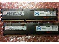 16GB (2 X 8GB) DDR3 PC3-10600R ECC CL9 1333Mhz HMT31GR7BFR4C-H9 for Dell PowerEdge Servers