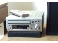Lovely old amp Denon amp with 2 Whafedale speakers works wonderfully with quality sound. Has remote