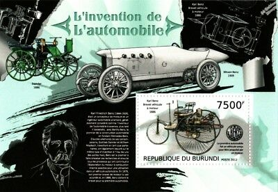 1886 Karl Benz Motorwagen   Blitzen   Daimler Mercedes Car Stamp Sheet  2012