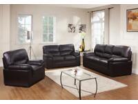 Designer 3+2 black leather sofa