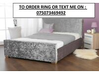 **FREE AND FAST DELIVERY** DOUBLE CRUSHED VELVET CHESTERFIELD BED WITH 9 INCH MATTRESS £129.99
