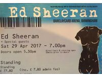 Ed Sheeran Sat 29 April Birmingham 2*Standing