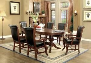 Furniture of America Melina Inter-Changeable Poker/Game/Dining Table + 6 Chairs in Brown Cherry