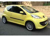 YELLOW SUMMERY PEUGEOT URBAN 107 - NEW NO ADVISORY MOT - AMAZING SERVICE HISTORY - £20 ROAD TAX!!!