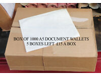 BOX OF 1000 A5 DOCUMENTS ENCLOSED WALLETS (PLAIN)