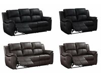 3+2 SEATER NEW LUXURY DESIGNER BLACK BROWN REAL BONDED RECLINER LEATHER SOFA SUITE FREE DELIVERY