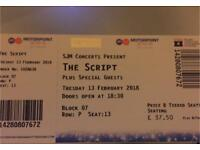 One- The Script Concert Ticket Nottingham 13/02/18 @ Motorpoint Arena