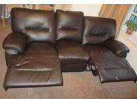Faux leather 3 seater reclining sofa