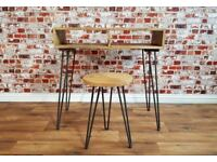 Industrial Hairpin Minimalist Writing Office Desk & Stool - Rustic Hardwood & Steel