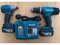 Makita 18v Combi Drill, Impact Driver, Charger and 2 x 3Ah Batteries.