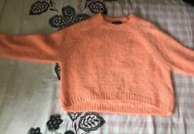 Topshop bright orange woolen jumper Size- 8