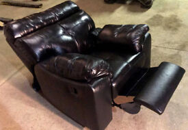 Brand New Cameron Leather Recliner Chair - Black. Delivery available