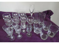 Joblot 20 assorted glasses & ice bucket - tumbler, whisky, champagne, sherry etc