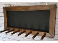 3 pair welly/boot rack holder with chalk board finished in dark oak wax
