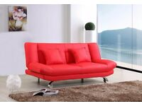 Stunning Leather Sofa Bed with 2 free cushions, Free delivery, Available in Black,Brown and Red