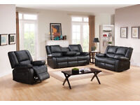 STYLISH BRAND NEW LUXURY BOSTAN RECLINER SOFA IN BLACK AND BROWN COLOR WE COVER ALL AREAS