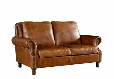 Crafters   Weavers Top Grain Vintage Leather English Rolled Arm Love Seat