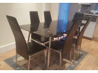 Set Dining Table + 6 Chairs Black Gloss Glass Metal Leather 150 x 80 cm