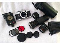 Vintage Fujika STX-1 SLR camera bundle
