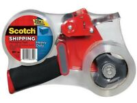 NEW HEAVY DUTY SCOTCH PACKAGING TAPE GUN GRIP DISPENSER WITH X2 3M TAPE