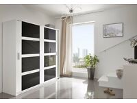 Brand New QUALITY 2 Sliding Door Wardrobe 140cm / 203cm Width White/Black/Grey gloss Storage