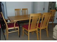 maple solid wood contemporary dining rod iron table and six matching chairs