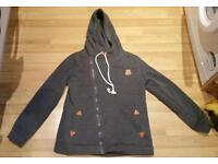 Ladies dark grey zippy hooded top size XL but very small