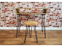 Industrial Writing Office Desk & Stool - Hairpin Minimalist Rustic Hardwood & Steel
