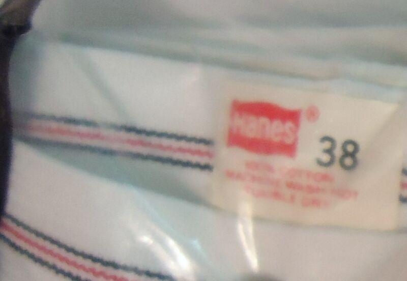 NOS Vtg Hanes White Cotton Briefs Red Black Stripe Waist 38 1977 Deadstock USA