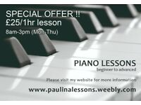 Piano tuition, SPECIAL OFFER for daytime class, Haringey, North London