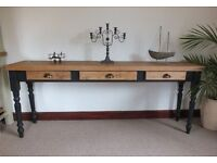 Stunning Long Shabby Chic Country Rustic Pine Console Table/Desk with 3 Drawers