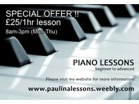 Piano tuition in Haringey N8, SPECIAL OFFER for daytime lessons