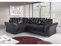 NEW L/H CORNER SHANNON SOFA IN BLK & GREY CHROME FEET, FOAM SEATS ONLY £359.99 WITH FREE DELIVERY