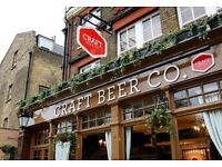 Full and Part time Bar Staff needed at The Craft Beer Co. Islington, 5 mins from Angel Tube Station
