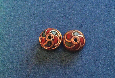 2 disc shape design with brass coral turquoise color, Tibetan Nepalese Beads