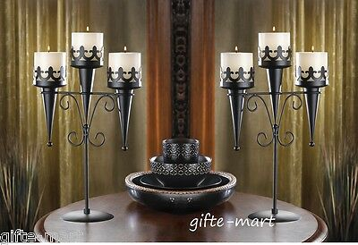 2 Black Torch Gothic dungeon castle medieval halloween Candle holder Candelabra