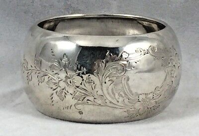 """Beautiful Etched Sheffield England Sterling 1923 Rounded Napkin Ring(s)- 1 1/8"""""""