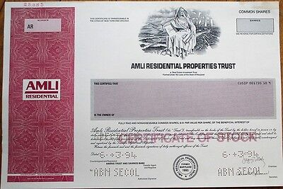 SPECIMEN Real Estate Stock Certificate: Amli Residential Properties Trust - MD