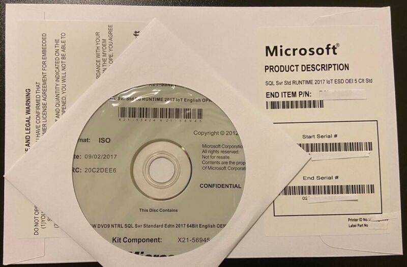 Brand New ,SQL Server Standard 2017  16 Core License Key DVD & COA