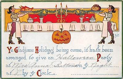 HALLOWEEN PARTY INVITATION PC, BISHOP IMAGE, JOL, SIMPLICITY CO PUB c 1907-14 - Halloween Pub Party