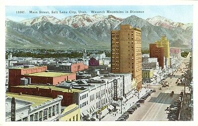 Salt Lake City Ut  Early View Of Main Street And The Wasatch Mountains