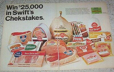 1966 print ad - Swift's Butterball Turkey ham bacon hot dogs chicken vintage AD