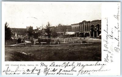 - GALVA, Illinois  IL    CENTRAL PARK   Street Scene  1907   Postcard