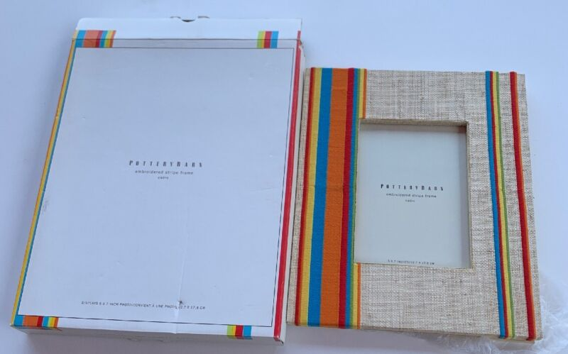 Pottery Barn Embroidered Stripe Frame Cadre 5 X 7 Burlap Striped Rainbow